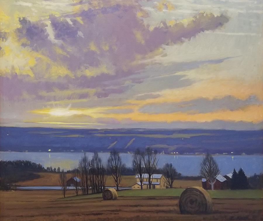 "Brian Keeler ""Seneca Evening Glow Near Lodi, NY"" 26x30 oil $2,800."