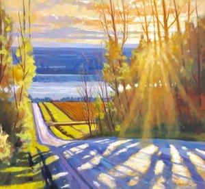 "Brian Keeler ""Seneca Spring Warm Light"" 22x24 oil $2,000."