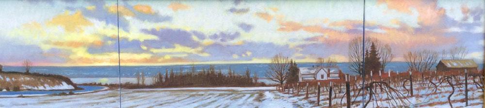 "Brian Keeler ""Seneca Winter"" 10x40 oil $2,400."