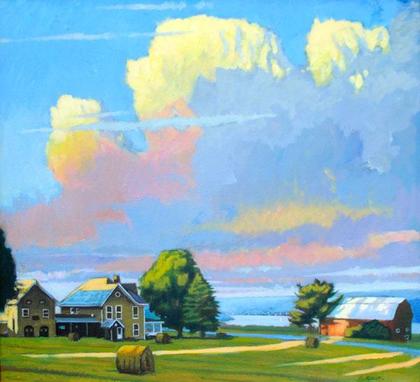 """Brian Keeler """"Summer Evening Clouds over Keuka"""" 25x27 oil $2,200."""