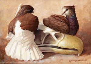 "Jennifer Miller ""Gryphon with Pigeons"" 5x7 acrylic $275."