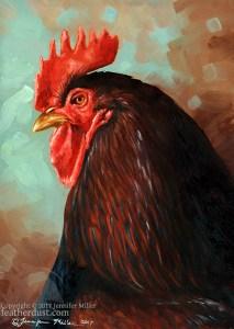"Jennifer Miller ""Gullencombe Portrait I"" (Rooster) 7x5 oil $375."