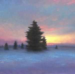 "Joseph A. Miller ""A Winter Twilight"" 7.5x7.5 oil/panel $600."