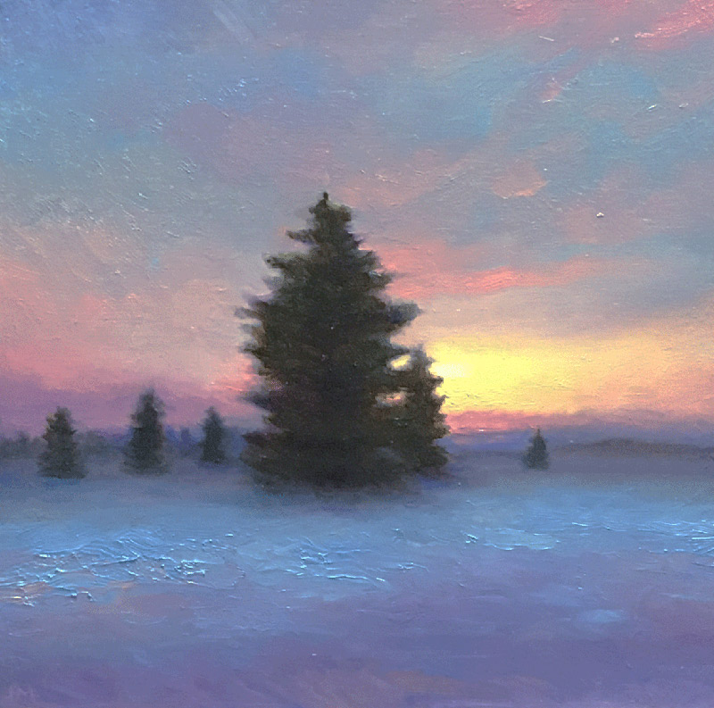 "Joseph A. Miller ""A Winter Twilight"" 7.5x7.5 oil/panel $600."