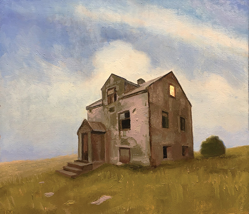 "Joseph A. Miller ""House"" 7.75x8.75 oil on panel $500."