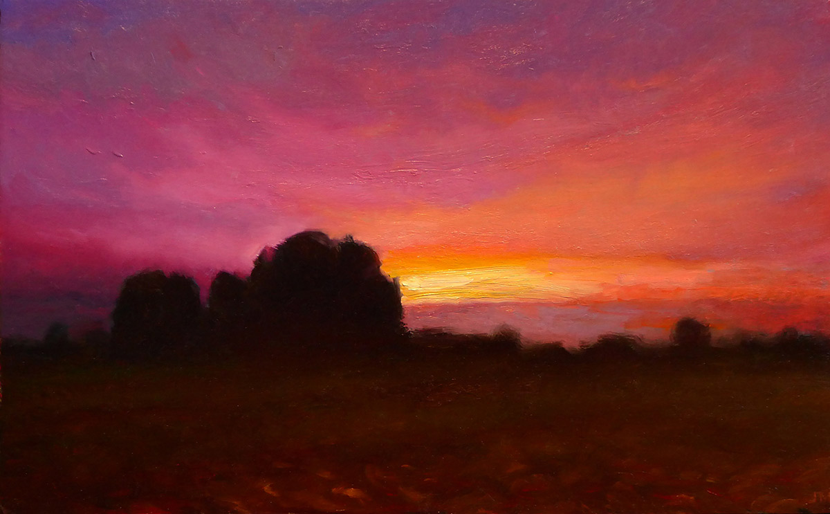 "Joseph A. Miller ""Late Sunset II"" 7x12 oil/panel $600."