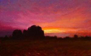 "Joseph A. Miller ""Late Sunset II"" 7x12 oil/panel $600."