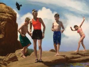 "Joseph A. Miller ""Oasis"" 12.75x17 oil/paper/panel $1,400."