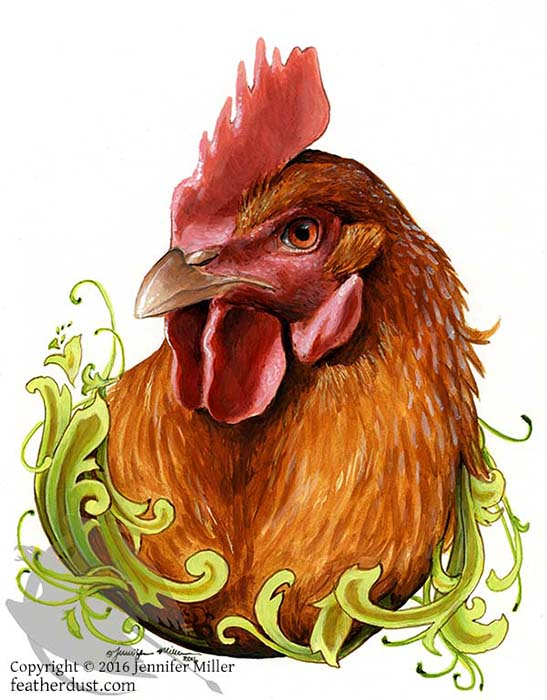"""Jennifer Miller """"To the Fierce and Intelligent Production Hen"""" 8.5x6.25 acrylic/paper matted/unframed $275."""
