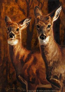 "Jennifer Miller ""Troublemakers"" 7x5 oil $375."
