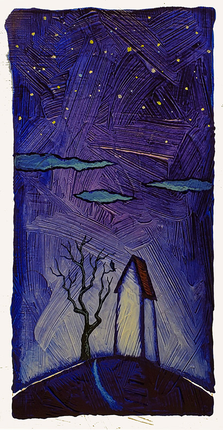 """GC Myers """"Blue Silent Night"""" 8x4 acrylic/paper $ Inquire SOLD"""