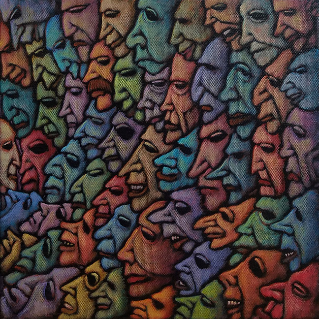 "GC Myers ""Facing the Crowd"" 12x12 acrylic/canvas $ Inquire"