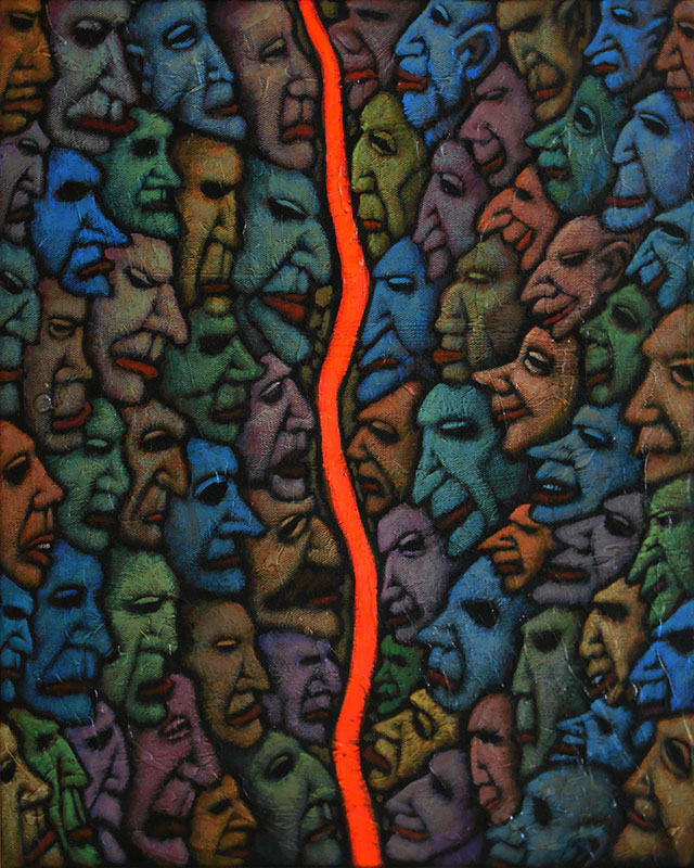 "GC Myers ""Multitudes: The Dividing Line"" 20x16 acrylic/canvas $ Inquire R"