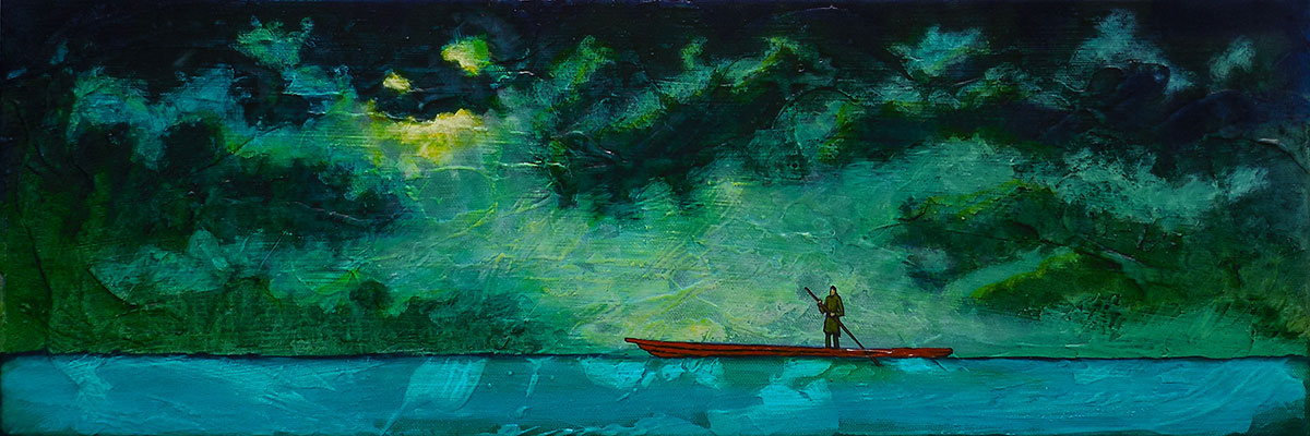 "GC Myers ""Night Crossing"" 8x24 acrylic/canvas SOLD"