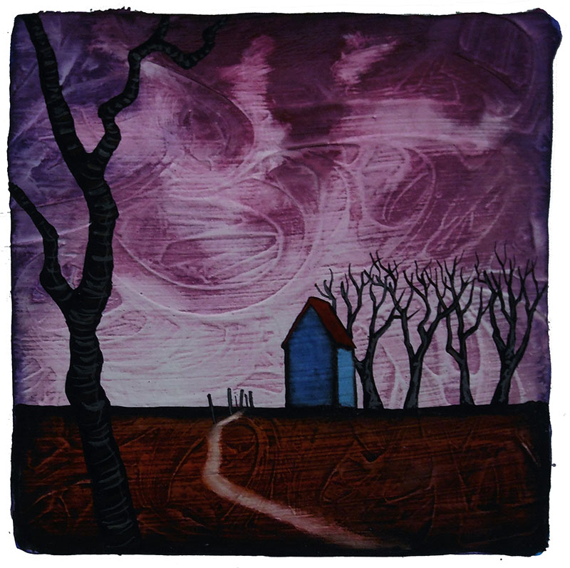 "GC Myers ""Overcome the Dark"" 6x6 acrylic/paper SOLD"