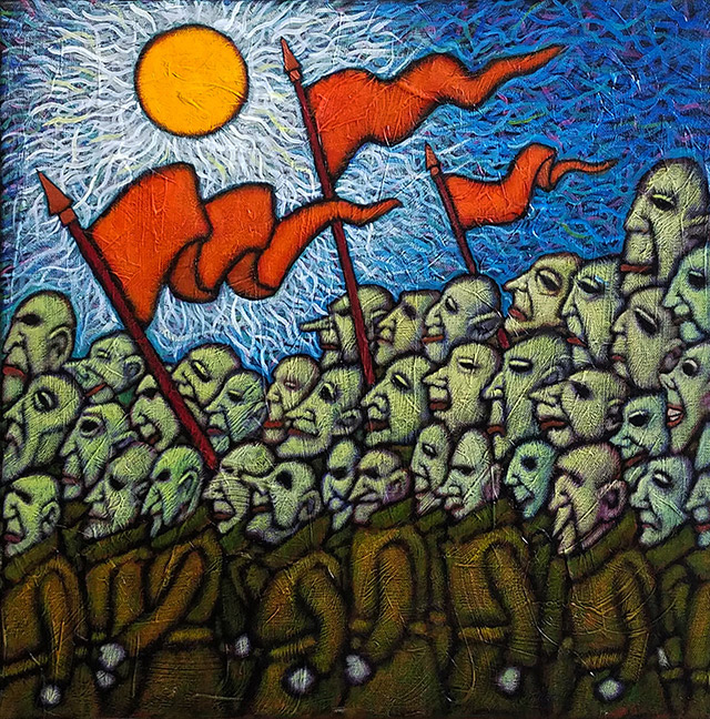 "GC Myers ""The March"" 18x18 acrylic/canvas $ Inquire"