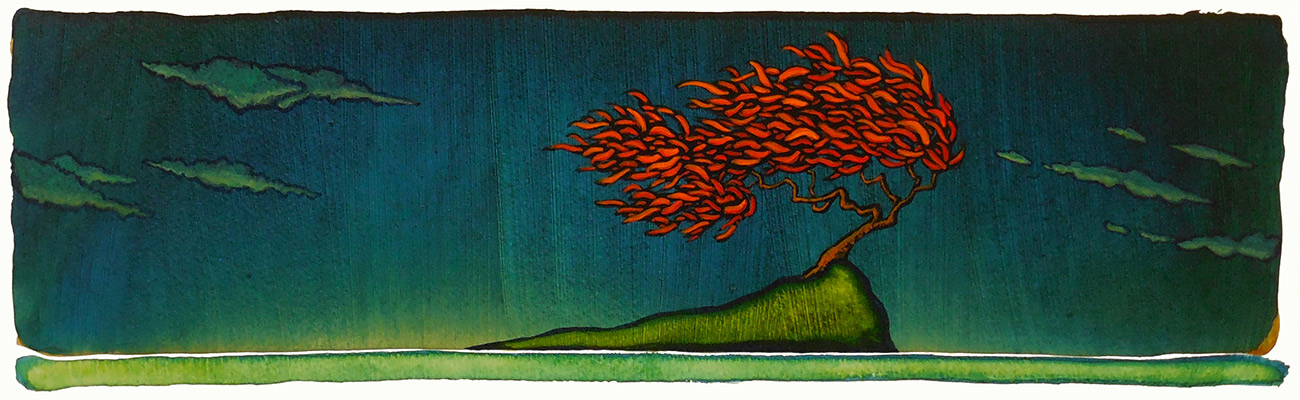 "GC Myers ""Wind Tossed"" 5.5x19.5 acrylic/paper $ Inquire"