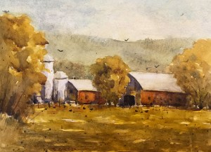 "Terry Oakden ""After the Harvest"" 8x11 watercolor $200. unframed"