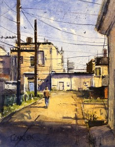 "Terry Oakden ""Alley Stroll"" 11x8 watercolor $450. framed"