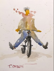 """Terry Oakden """"Joy Ride"""" 7x5 watercolor $100. unframed"""