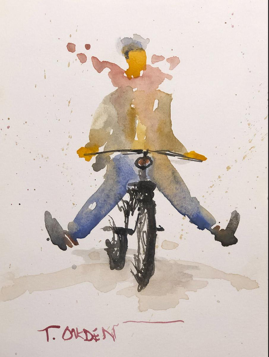 """Terry Oakden """"Joy Ride"""" 7x5 watercolor $100. unframed SOLD"""