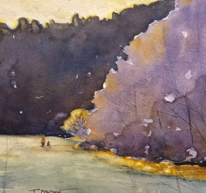 "Terry Oakden ""Reflecting - Taughannock"" 8x9 watercolor $150. unframed"
