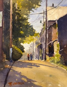 "Terry Oakden ""The Backside of Main"" 10x8 watercolor $200. unframed"