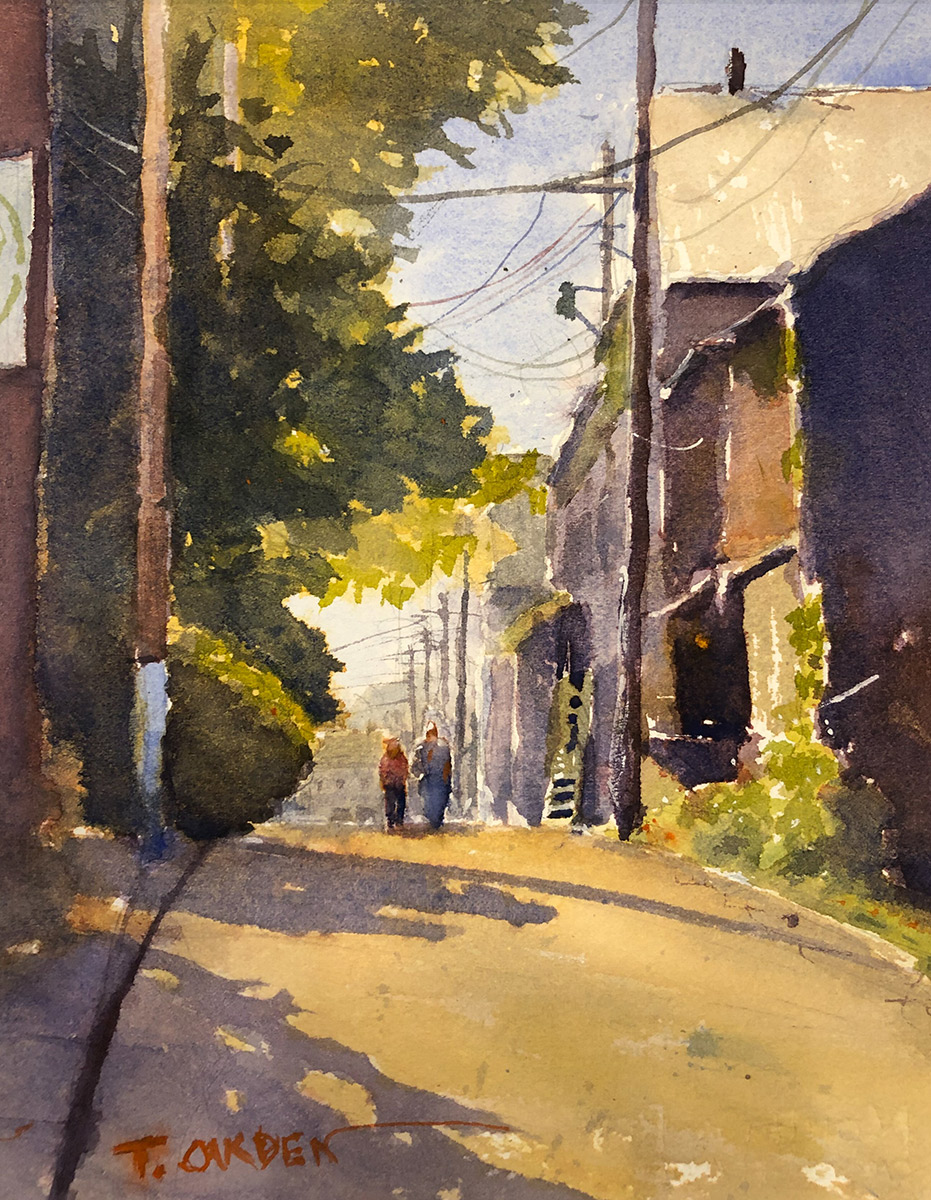 """Terry Oakden """"The Backside of Main"""" 10x8 watercolor $200. unframed"""