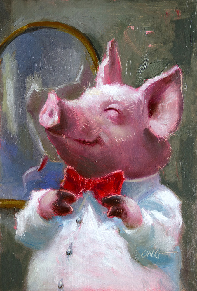 "Wilson Ong ""Hog Tie"" 6x4 oil/board $200. SOLD"
