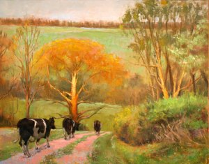 """OngLandscapeAmblingDown - """"Ambling Down"""" oil painting by Wilson Ong"""
