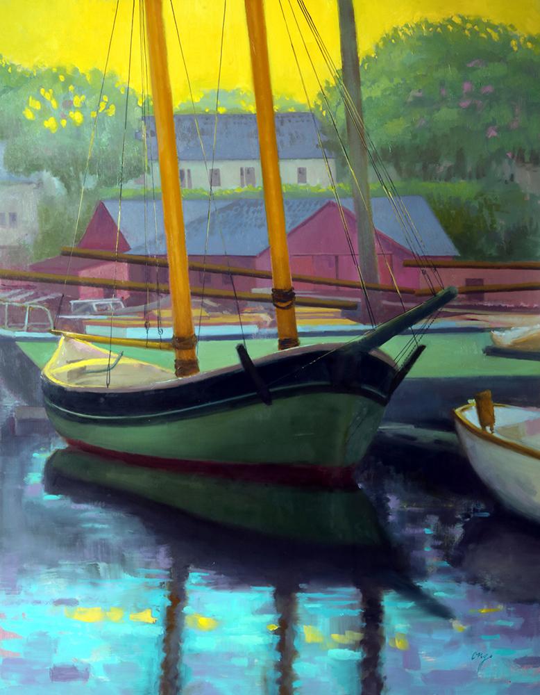 "Wilson Ong ""Harbor Reflection"" 30x23 oil $2,800."