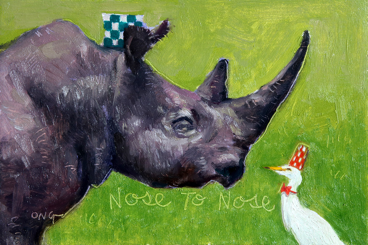 """Wilson Ong """"Nose to Nose"""" 4x6 oil/board $230."""