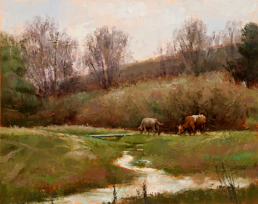 "Wilson Ong ""Spring Brook"" 8x10 oil/board $525. SOLD"
