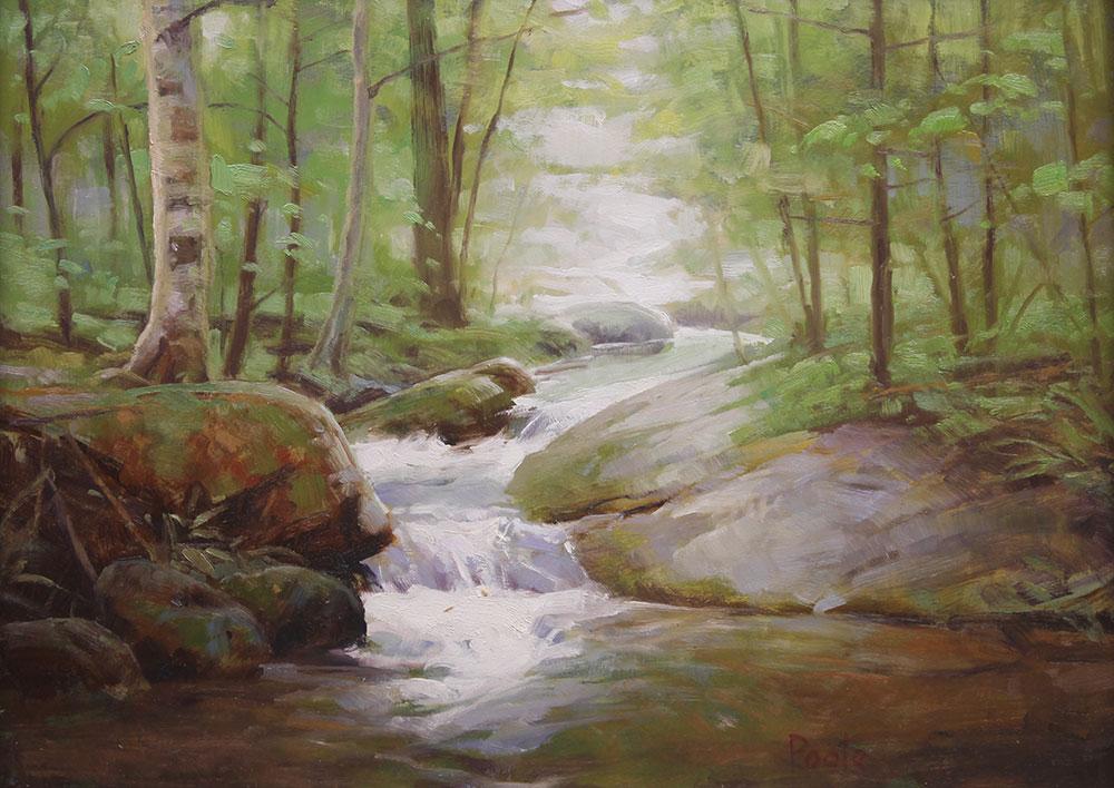 "Martin A. Poole ""Along the Creek"" 12x16 oil $1,650."