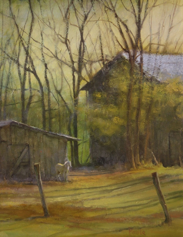 "Martin A. Poole ""Cold Morning"" 14x11 oil $1,600."