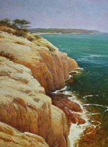 """Martin A. Poole """"Acadia"""" 48x36 oil $6,100."""