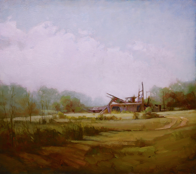 """Martin Poole """"Last Mintz Barn - Mintz Barn Remnants"""" 16x18 oil $2,090"""