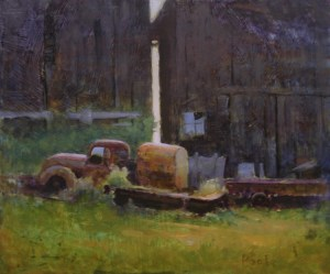 """Martin Poole """"Up on Blocks - Old Truck"""" 12x14 oil $1,600."""