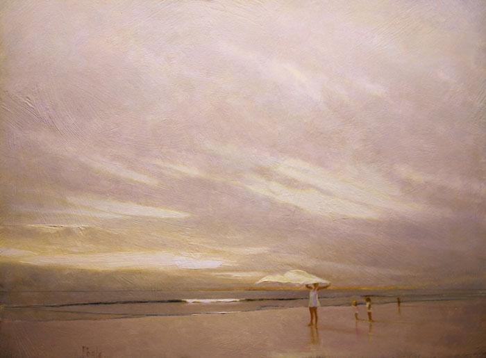 "Martin Poole ""Picnic-Beach"" 18x22 oil $2,300."