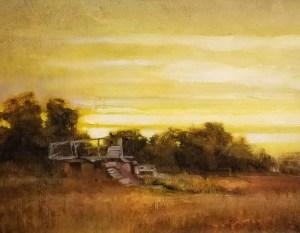 """Martin Poole """"Ruin"""" 8x10 oil $1,150."""