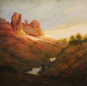 "Martin Poole ""Sedona Creek - Teapot Rock"" 16x16 oil $1,850."