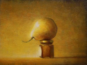 """Martin A. Poole """"Pear with Honey"""" 9x12 oil $1,100."""