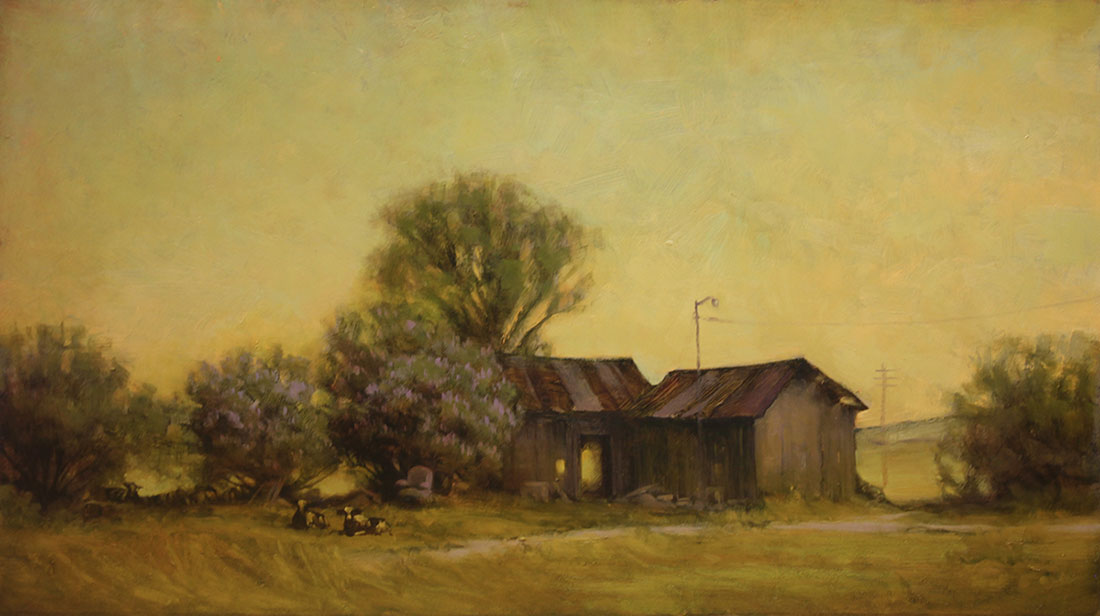"Martin A. Poole ""Sleeping Cows"" 13x23 oil $2,090. SOLD"
