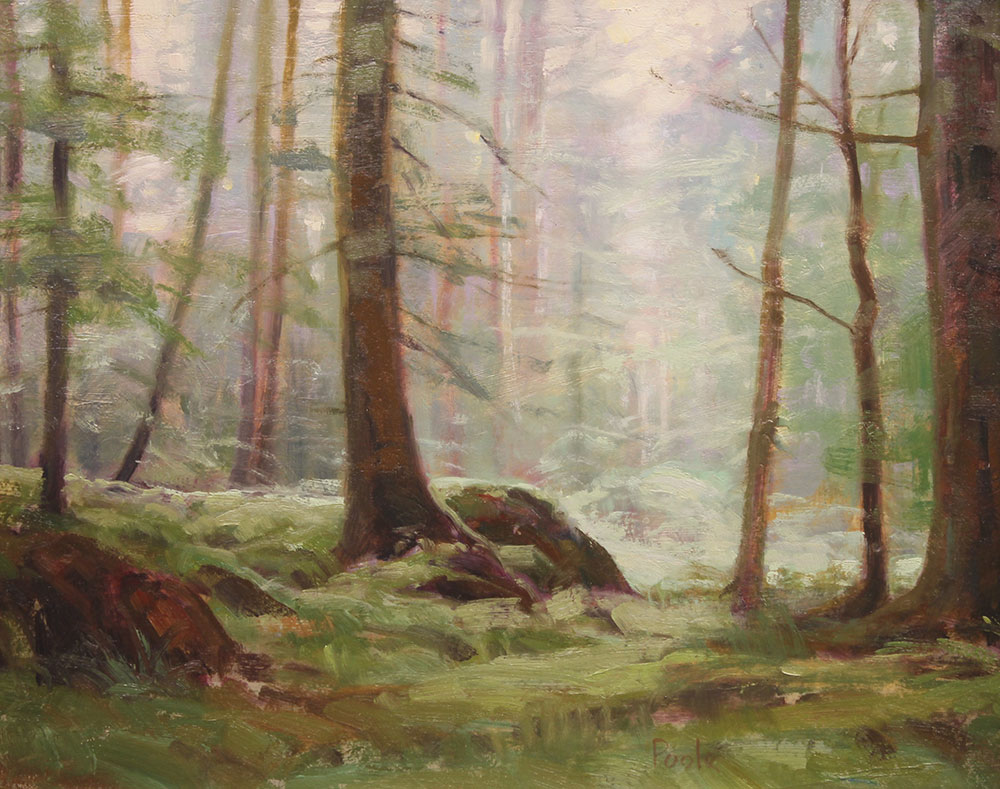 """Martin A. Poole """"Walk in the Woods"""" 12x15 oil $1,650."""