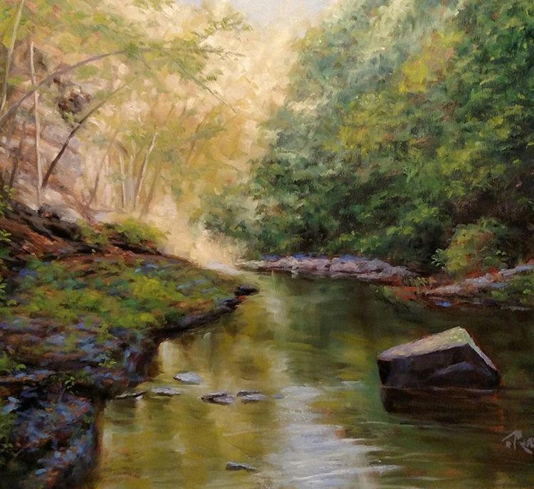"""James Ramsdell """"Down the Gorge"""" 22x28 oil $1,800."""