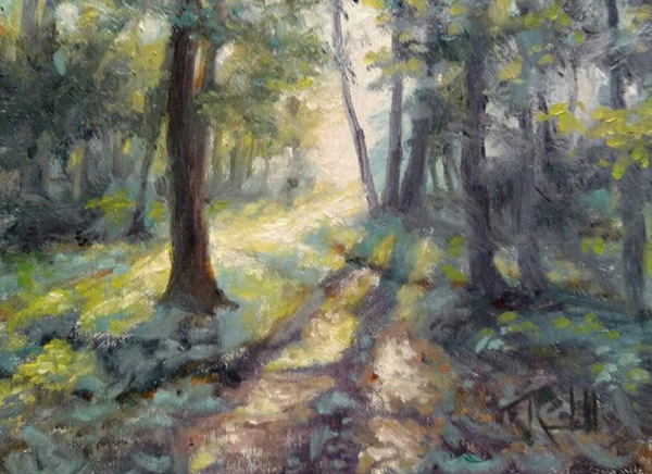 """James Ramsdell """"Following the Light"""" 6x8 oil $250."""