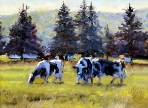 """James Ramsdell """"Morning Pasture"""" 9x12 oil $700."""