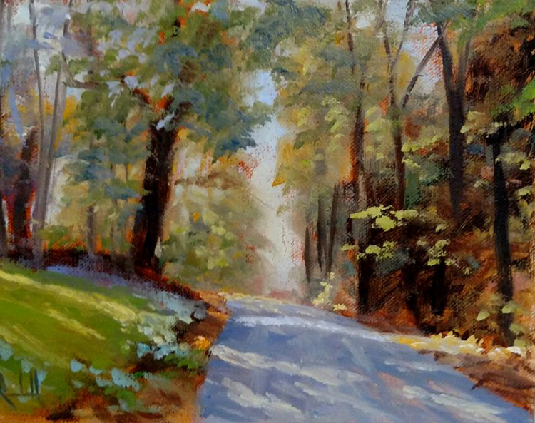 """James Ramsdell """"Shaded Road"""" 6x8 oil $250."""