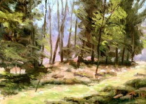 "James Ramsdell ""Spring into the Woods"" 6x8 oil $250."