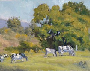 """James Ramsdell """"Summer Pasture"""" 9x12 oil $700."""